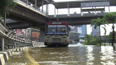 Bus in Flood Water City Emergency Climate Change Global Warming Bangkok 9532 Stock Footage