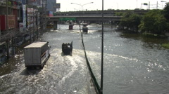 Flooded City Street Flood Emergency Climate Change Global Warming Bangkok 2012 Stock Footage