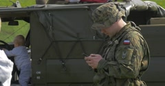 People Around the Military Machine in the Flag Day in Poland. Stock Footage
