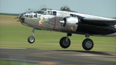 North American B-25 LuckyLady TakeOff Stock Footage