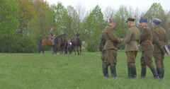 Polish Flag Day in Opole Male Soldiers Standing on Field Riders Are Riding Stock Footage