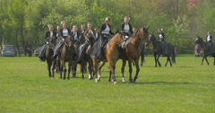 Polish Flag Day in Opole Female Riders Women Riding Horses Girls in Long Black Stock Footage