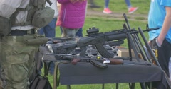 Children Managed to Come to Table With Pistols Stock Footage