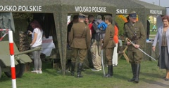 Visitors at the Gun Exhibition at Flag Day Stock Footage