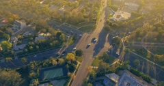 Aerial view of famous 6-way stop intersection in Beverly Hills California 4K UHD Stock Footage