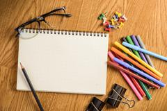 School stationary and office supplies Stock Photos