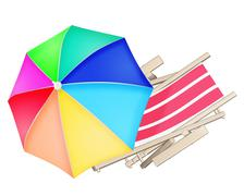 Beach deck chair and colourful umbrella isolated on white background. Stock Illustration