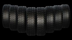 New rubber tires for car on black background. - stock illustration