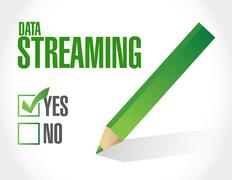 data streaming approval sign concept - stock illustration