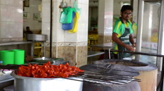 Chicken Tikka kebabs and chef, Malaysia Stock Footage