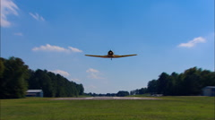 North American AT-6 Texan Head On Fly By Stock Footage