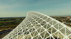 Aerial video Vela designed by architect Calatrava under costruction. N. Stock Footage