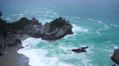 McWay Falls at Julia Pfeiffer Burns State Park near PCH in Big Sur, California Stock Footage