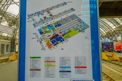 DESDREN, GERMANY - MARZO 23, 2016: Map of main station and different gares Stock Photos