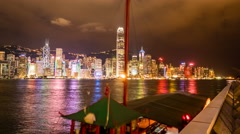 Tour Boat Pickups and Drop Offs in Hong Kong Night Life Stock Footage