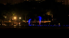 Fountain at Petronas Towers Change Colour at Night - stock footage