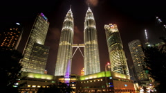Night Clouds Motion over Petronas Twin Towers Stock Footage