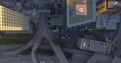Top down aerial view traffic on 110 freeway downtown Los Angeles 4K UHD - stock footage