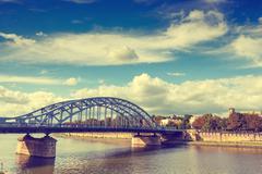 Vintage look of Vistula River in the historic city center of Krakow, Poland Stock Photos