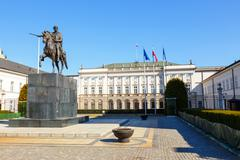 Polish Presidential Palace with statue of Prince Jozef Poniatowski Stock Photos