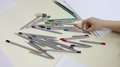 Many color pencils on the desk Stock Footage