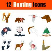 Flat design hunting icon set - stock illustration