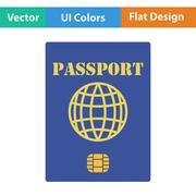 Flat design icon of passport with chip Stock Illustration