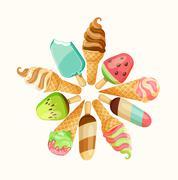 Ice cream set. - stock illustration