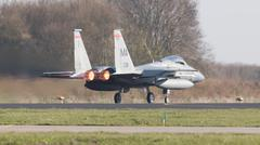 LEEUWARDEN, NETHERLANDS - APRIL 11, 2016: US Air Force F-15 Eagle takking off Stock Photos