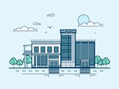 City street with administrative building, modern architecture in line style Stock Illustration