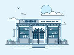 city street with bookstore, bookshop, modern architecture in line style - stock illustration