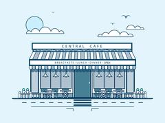 city street with central cafe, modern architecture in line style - stock illustration