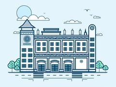 City street with fire department, modern architecture in line style Stock Illustration