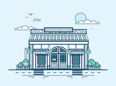City street with snack bar, bistro, lunch room, modern architecture in line Stock Illustration