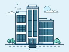 City street with office buildings, administrative building, modern architecture Stock Illustration