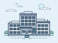 city street with police station, modern architecture in line style - stock illustration