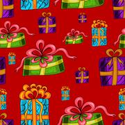 Seamless pattern with colorful presents on a red background Stock Illustration