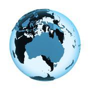 Australia on translucent Earth Stock Illustration