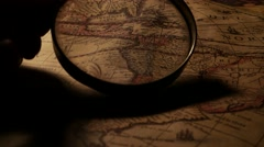 Close up of a vintage old map Stock Footage