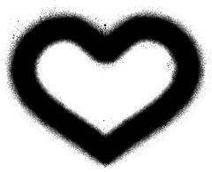 Sprayed graffiti heart in black over white Stock Illustration