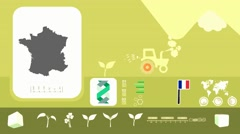 France - Agriculture - Vector Animation - yellow - stock footage