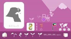 Kuwait - Agriculture - Vector Animation - purple - stock footage