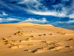 Desert sand dunes on sunrise - stock photo