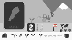 Lebanon - Agriculture - Vector Animation - grey - stock footage