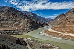 Confluence of Indus and Zanskar Rivers, Ladakh - stock photo