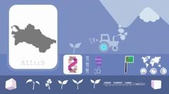 Turkmenistan - Agriculture - Vector Animation - blue - stock footage