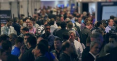 Crowd of people at NAB Show 2016 exhibition in Las Vegas Convention Center 4K - stock footage