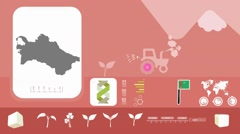 Turkmenistan - Agriculture - Vector Animation - red - stock footage
