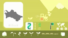 Turkmenistan - Agriculture - Vector Animation - yellow - stock footage