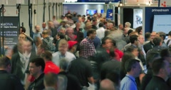 NAB 2016: Business people crowd convention 4K UHD timelapse Stock Footage